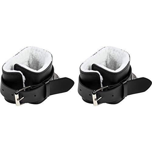 GORILLA SPORTS® Fußschlaufe Leder Schwarz 2er Set – Ankle Strap gepolstert für Kabelzug
