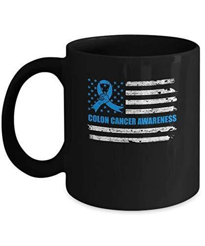 N\A Cinta Azul Conciencia del cáncer de Colon Bandera Estadounidense Taza de café Taza de café