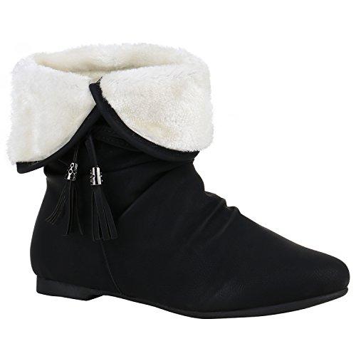 Warm Gefütterte Damen Stiefeletten Schlupfstiefel Flache Boots 151535 Schwarz Quasten 41 Flandell
