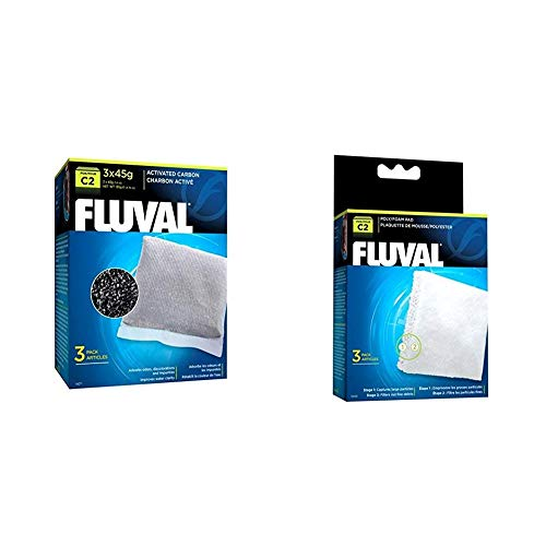 Fluval C2 Power Filter Replacement Media Bundle, 3-Pack Activated Carbon and 3-Pack Poly/Foam Pad, Filter Media for Aquariums up to 30 Gallons