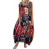 Damenkleider Langes Sommerkleid Vintage Bohemian Print Freizeitkleid Floral Ärmellos Tank Oansatz Hemdkleid TräGer Maxi Partykleid Leinenkleid Tuchkleid...