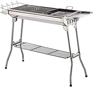 Charcoal Grill Kabab grills Portable BBQ - Stainless Steel Folding BBQ Camping Grill Large Hibachi Grill Shish Kabob Porta...