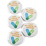 VNMGCovid-19ワクチン受領通知を受け取りましたCDCは公衆衛生を奨励していますCovid-ワクチンボタンバッジラッキーバッジボタンピン5個ホワイト