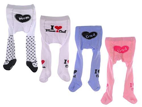-- Baby Strumpfhose I Love Mum Dad 48 50 56 62 68 74 Liebe Papa Mama Neugeborene (weiß mum+dad, 50-56)
