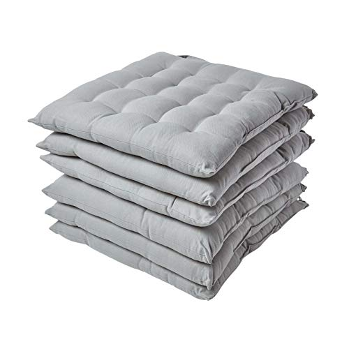 HOMESCAPES Grey Seat Pads for Dining Chair, Set of 6 100% Cotton Chair Pads with Straps, 40x40 cm