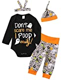 4Pcs Halloween Outfit Set Baby Boys Girls Funny Pant Clothing Set (3-6 Months, Gray)