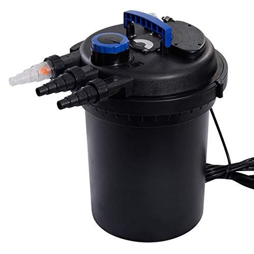 Meda| Pressure Bio Filter 4000GAL W/ 13W UV Sterilizer Light 10000L Koi Water, Black