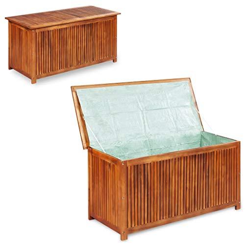 GOTOTOP - Baúl de almacenaje de jardín de madera de acacia sólida, baúl de jardín de almacenamiento, exterior muebles de jardín, 150 x 50 x 58 cm