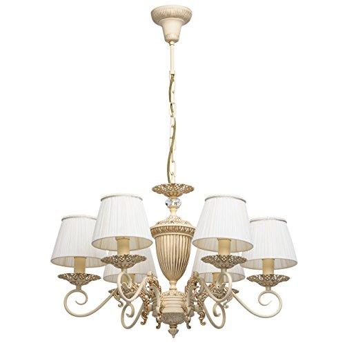 MW-Light 450014106 Klassischer Antiker Kronleuchter 6 Flammig Metall Beige Goldfarbig Weiße Textilschirme Landhausstil 6 x 40W E14