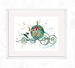 Cinderella Carriage Prints, Cinderella Disney Watercolor, Nursery Wall Poster, Holiday Gift, Kids and Children Artworks, Digital Illustration Art