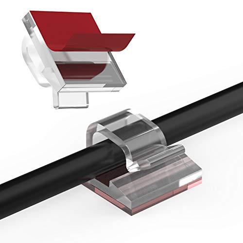 60 Stück Kabelclips für den Innen Außenbereich mit Klebebändern Kabelmanagement Dekorationsclips Selbstklebende Haken Drahthalter für Weihnachten Lichterketten USB Ladekabel (Transparent)