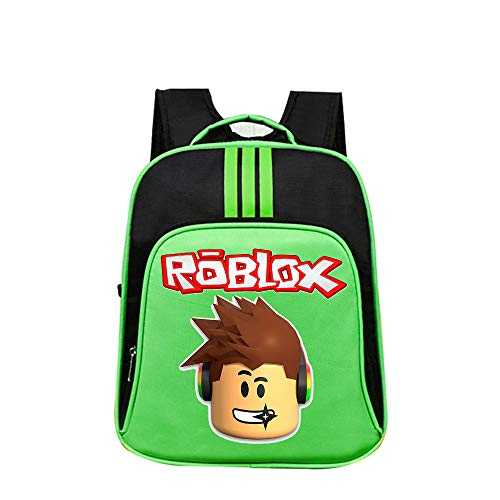 Roblox School Backpack Travel Bag Backpack Cartoon Printed Simple Casual Backpack Kids (Color : Green01, Size : 32 X 14 X 40cm)