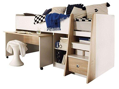 AVANTI TRENDSTORE - Pier - Letto a soppalco con scrivania Estraibile e scaffale Incorporato, con 4 scompartimenti Aperti e 1 cassetto. Dimensioni: Lap 204x107x120 cm