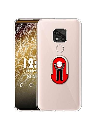 Sunrive Funda Compatible con Motorola Moto G Power 2021, Soporte Teléfono Coche Silicona Transparente Gel Carcasa Case Bumper Anti-Arañazos Espalda Cover Anillo Kickstand 360 Grados Giratorio(Rojo)