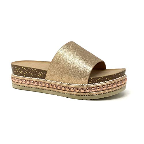 Angkorly - Damen Schuhe Sandalen Mule - Folk/Ethnisch - Böhmen - Step - Nieten-Besetzt - Kork - Perle Keilabsatz high Heel 5 cm - Rosa Gold 1051 T 40