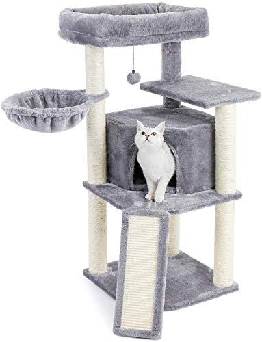 Amazon Brand – Eono Katzenbaum Kratzbaum mit Sisal Kletterbaum Kratzbrett Katzenspielzeug Plüsch Höhle Liegemulde Höhe 106cm Grau für Kätzchen Ausgewachsene Katzen