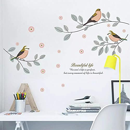 Pájaro En La Rama Arte Etiqueta De La Pared Sala De Estar Dormitorio Decoración Del Hogar Armario Calcomanías Murales Papel Tapiz Autoadhesivo Pegatinas Decoración