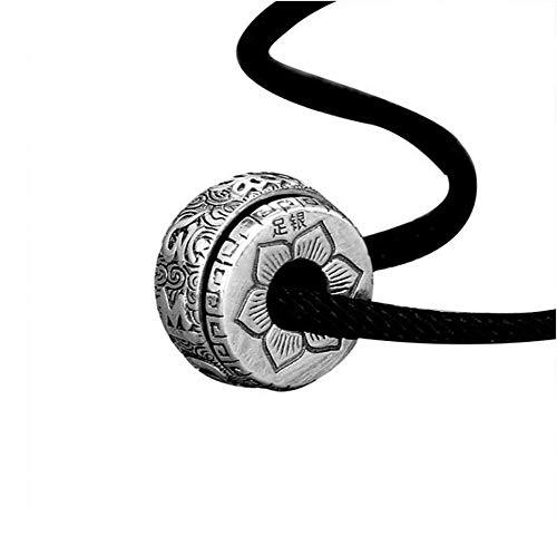 Collana in argento 990, ciondolo da uomo, amuleto a sei parole, ciondolo a forma di antra femminile (argento), ciondolo a sei parole, con corda nera