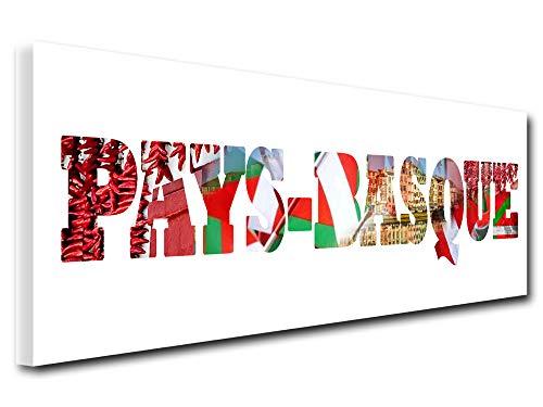 DECLINA - Cuadro Decorativo para Dormitorio, Cuadro Decorativo, Cuadro de diseño, Cuadro de Pared, Cuadro Decorativo con Letras del País Vasco, 80 x 30 cm, Lona, Blanco, 80x30 cm