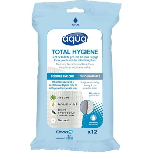 Aqua Total Hygiène Gants de toilette pré-imbibés sans rinçage (paquet de 12 gants)
