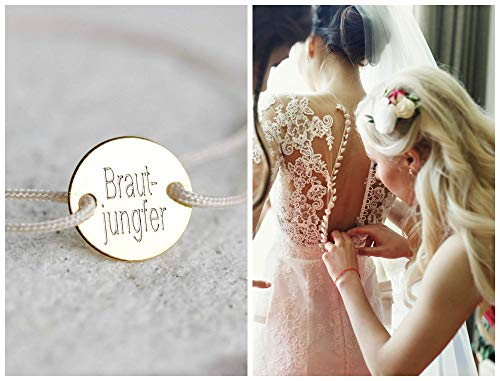 Brautjungfer und Trauzeugin Geschenk, Namensarmband, Freundschaftsband mit Gravur, Personalisiertes Armband, Damen Einheitsgröße, 925 Silber