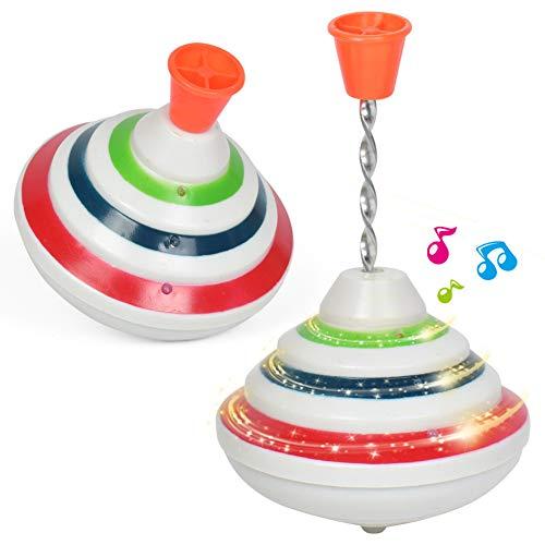 Push up Trottola Giocattolo con LED e Musica Trottola Giocattoli Musica Peg-Top Mano girobussola Giocattolo Regalo per i Bambini, Trottola LED Giocattoli Brillanti Regali di Compleanno per Bambini