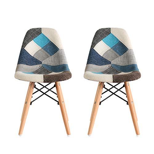 Ellexir Patchwork Chair Set of 2 Fabric Retro Style Dining Set Set Muebles de Oficina para el hogar, Sala de Estar Muebles para el hogar Sillas Coloridas (Patchwork Blue)