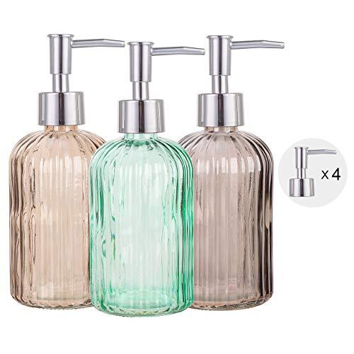 Cutiset Bathroom Accessories Set, 15oz Glass Soap Dispenser Bottle for Bath Decor, 3 Pack Set