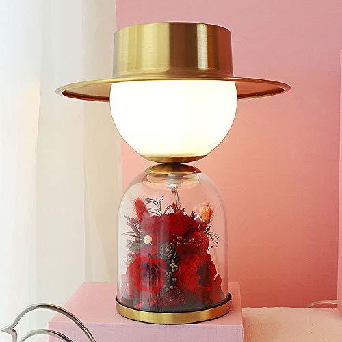ETH lámpara de Mesa Amantes De La Flor Retro Dormitorio Lámpara De Cabecera Marry Matrimonio Habitación Lámpara De Mesa 28 * 26cm del Regalo De La Vida Eterna (Color : Red)