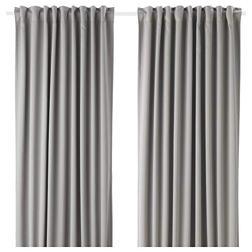 IKEA ASIA MAJGULL Cortinas Block-out, 1 par, Gris