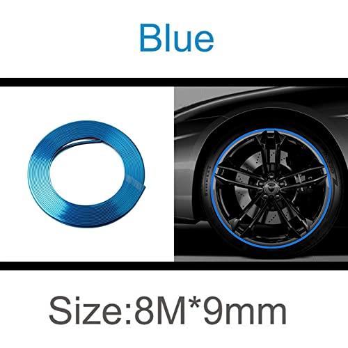 Protector de borde cromado para coche, 8 m, protección para puerta de coche, cinta cromada, pegatinas de coche, para decoración de neumáticos, tira de goma para moldear (color: azul)