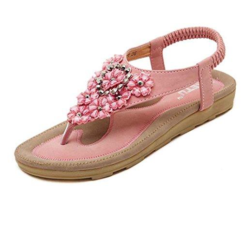 Summer Sandals Boomboom 2018 Newest Women Sweet Beaded Clip Toe Flats Bohemian Beach Shoes (US 8  Pink)
