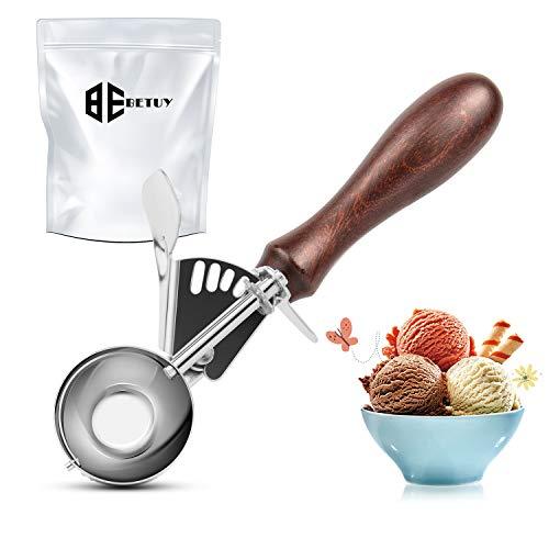 Betuy - Cuchara para helado de acero inoxidable 304 de grado alimenticio con gatillo y mango de madera antideslizante, para helado, puré de patatas, frutas, hornear (diámetro 4 cm)