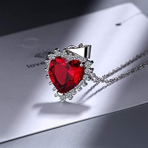 qwertyuio Collares para Mujer, Collar para Mujer, En Forma De Corazón, Zafiro, Circonita, Piedras Preciosas, Colgante, Accesorios, Compromiso De Boda, Rojo