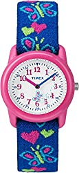 Timex Kids' T89001 Analog Hearts and Butterflies Elastic Fabric Strap