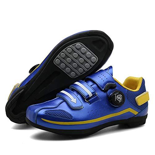 Sebasty Zapatillas de Ciclismo Sin Bloqueo,Zapatillas de Spinning,Zapatillas de MTB Zapatillas de Bicicleta de Carretera,Zapatillas de Ciclismo Zapatillas de Ciclismo Desbloqueadas,Blue-37