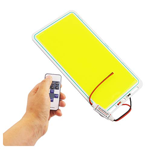 Ultra Bright DC 12V COB LED Panel Light with Remote Control Dimmer, Max 70W 7000LM Chip Strip, LED Module for Outdoor Camping Hiking Lamp, Car Battery Drive Lights Emitting White 6500K
