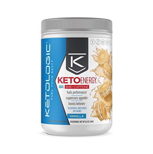 KetoLogic BHB Exogenous Ketones Powder with Caffeine (30 Servings) - Keto Pre-Workout, Boosts Ketosis, Energy & Focus - Support Keto Diet with Beta-Hydroxybutyrate Keto BHB Salts - Vanilla
