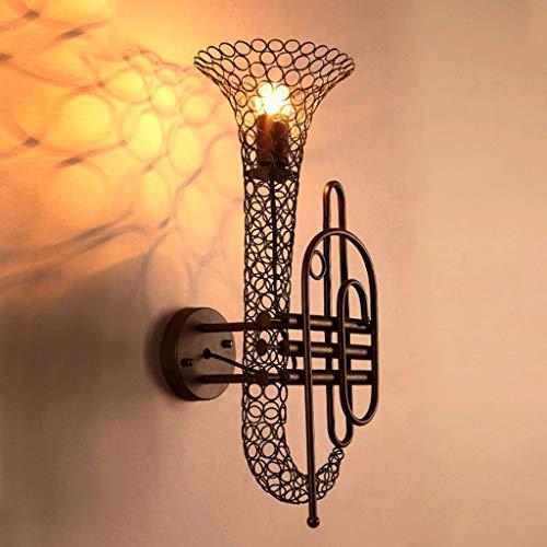 BDFHNLK Creative Personality Saxofón Iron Art Lámpara de pared industrial Wind Cafe Aplique de pared decorativa, restaurante, Aisle Retro Wall Light