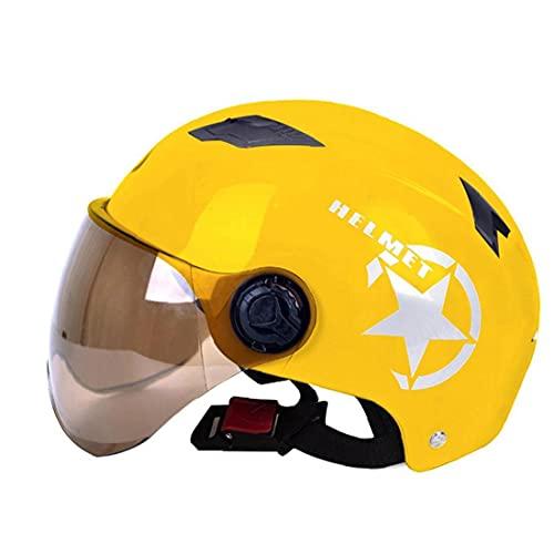 Sanfiyya Casco de Scooter eléctrico con Lente de PC Motocicleta Facia Abierta Seguridad de Verano Media Casco Amarillo