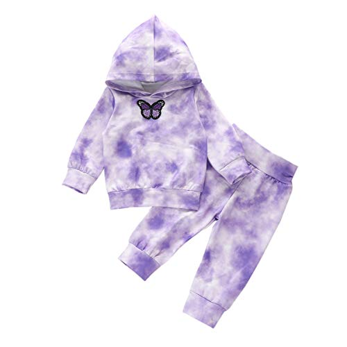 GOOCHEER Toddler Girl Clothes Tie Dye Long Sleeves Hoodie and Pant Set Toddler Girl Spring Fall Winter Outfit Clothing (Purple Tie Dye, 12-18 Months)