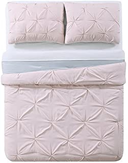 My World LHK-COMFORTERSET Pleated Reversible Full/Queen Comforter Set, Blush/Silver Gr