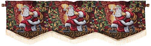 "Violet Linen Decorative Christmas Tapestry Window Valance, 60"" x 15"", Santa Claus Design"