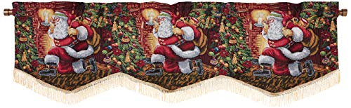 Violet Linen Decorative Christmas Tapestry Window Valance, 60' x 15', Santa Claus Design