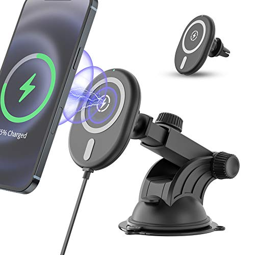 15W Wireless Car Charger Mount, OHLPRO Fast Charging Magnetic Car Phone Mount with Strong Suction & 360° Rotation, Air Vent Car Phone Holder for iPhone 12/12 Mini/12 Pro/12 Pro MAX MagSafe case