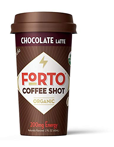 FORTO Coffee Shots - 200mg Caffeine, Chocolate Latte, High Caffeine Cold Brew Coffee, Bottled Fast Coffee Energy Boost, Pack of 12