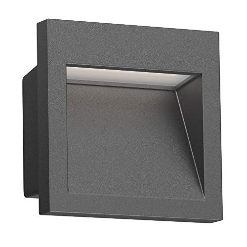 ledscom.de LED Wand-Einbauleuchte Nola für außen, anthrazit, 90x90mm, warmweiß, 3000K, 3W =21W, 200lm