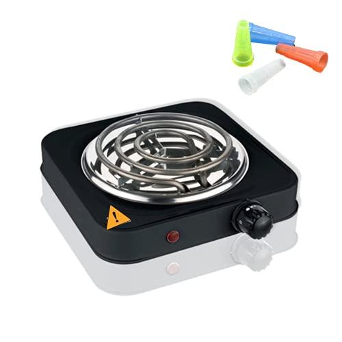 Pack Hornillo eléctrico Shisha Cachimba para Carbones Barbacoa + 100 boquillas desechables . Hornillo para Camping, Cocina Portátil o Encender Carbon.
