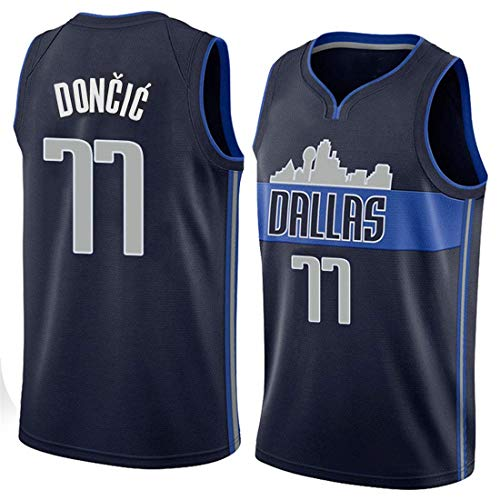 King-mely Herren NBA Dallas Mavericks 77# Doncic Retro Basketballhemd Sommer Trikots Basketballuniform Stickerei Tops Basketball Anzug