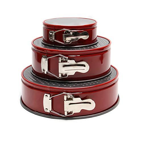 JACKBAGGIO Lot De 3 Moules A Gâteaux Ronds En Acier A Haute Teneur En Carbone Avec Pinces Dégagement Rapide 10,2 cm 17,8 cm 22,9 cm Rouge
